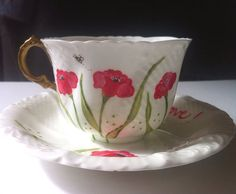 Red and White Poppy Vintage Tea Cup And Saucer  on Etsy, $14.50