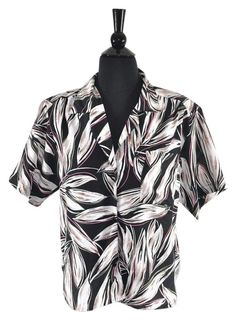 2e766c05 Balenciaga Vintage 80's Floral Retro Polyester Button Down Shirt Size 10.  Available at Luxury Fashion