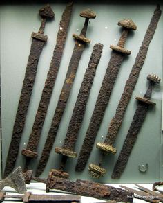 These Viking swords were discovered alongside warrior burials in Kilmainham, Dublin. They are now housed in National Museum of Ireland —