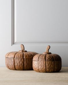 Two Wooden Pumpkin Dishes at Horchow. They form the base for elegant fall centerpieces and fall displays.