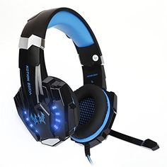 LESHP Gaming Headphone for PlayStation 4 PS4 Tablet PC iPhone 66s6 plus5s5c5 G9000 Headset with Microphone Volume Control and LED Light BlackBlue ** More info could be found at the image url.Note:It is affiliate link to Amazon. #startup