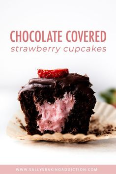 Deliciously indulgent and fudgy chocolate cupcakes filled with strawberry butter. Deliciously indulgent and fudgy chocolate cupcakes filled with strawberry buttercream and topped wi Chocolate Strawberry Cupcakes, Chocolate Cupcakes Filled, Coconut Hot Chocolate, Strawberry Buttercream, Chocolate Covered Strawberries, Homemade Chocolate, Chocolate Ganache, Chocolate Recipes, Mocha Cupcakes