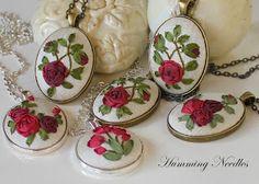 Humming Needles  Silk Ribbon Embroidery pendants