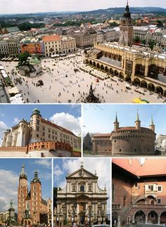 Kraków, Poland - Cracow.     Main Market Square, Wawel Castle, Barbican, St. Mary's Basilica, St. Peter and Paul Church, Collegium Maius