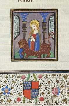 Margaret of Antioch emerging from yet another dragon - Medieval Manuscript Images, Pierpont Morgan Library, Hours of Pierre de Bosredont. MS G.55 fol. 121v