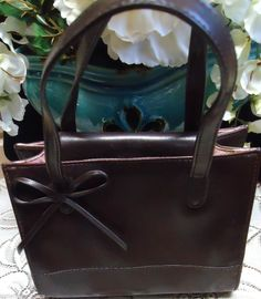 Vintage 1960's ALDO Made in China Brown Leather w/Cherry Blossom Lining Handbag