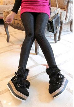 Black Skinny Women Lace Splicing Leggings One Size @QZK11926b