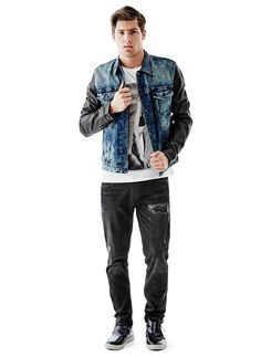 Dillon Faux-Leather Sleeve Jacket in Scruff Blue Wash