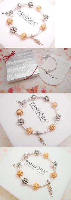 Charms and Charm Bracelets 140944: Authentic Pandora Silver Bangle Bracelet With Golden Crystal European Charms. -> BUY IT NOW ONLY: $119.0 on eBay!