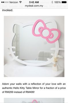 There is 1 tip to buy nail polish, mirror, desk, hello kitty, bathroom. Hello Kitty Haus, Hello Kitty Zimmer, Hello Kitty Bedroom, Cat Bedroom, Bedroom Wall, Bedroom Ideas, Hello Kitty Imagenes, Hello Kitty Themes, Hello Kitty Decor