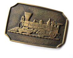 Retro train belt buckle, brass locomotive buckle, BTS solid brass buckle, steam locomotive stocking stuffe train engineer, 1970s Jackpot Jen by JackpotJen on Etsy