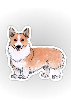 """Corgi dog"" Stickers by Savousepate on Redbubble #stickers #stationery #corgi #dog #cute #drawing #watercolor #white #orange #ginger"