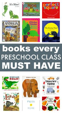 Great list of books for preschool classrooms. Alphabet books, counting books, and other books to use for all your lessons. Great ECE resource.