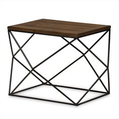 Baxton Studio Stilo Rustic Industrial Style Antique Black Textured Finished Metal Distressed Wood Occasional End Table
