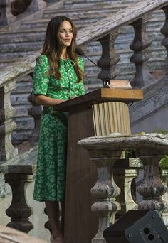 11 June 2018 - Princess Sofia attends the Sophiahemmet University graduation ceremony at Stockholm City Hall - dress by LK Bennett, shoes by Stinaa.J, bag by Salvatore Ferragamo