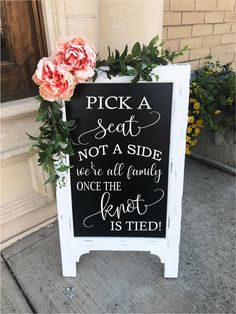 Pick A Seat Not A Side Sign Wedding Chalkboard Easel Chalkboard Sign Wedding Sign Bridal Shower Sign Wedding Sign Wedding Decor Aisle Decor by TIMBERANDLACECO on Etsy