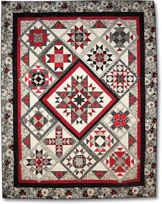 I think this would look great in taupe with the burgendy/red taupe fabrics - On Point in Black White & Red Block of the Month