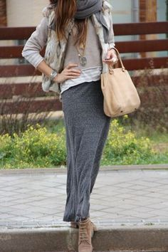 grey and beige for a fall day | mytenida en stylelovely.com