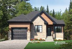 Discover the plan 3222 - Foxwood from the Drummond House Plans house collection. 2 bedroom bungalow house plan with garage and great fireplace in family room, breakfast nook. Garage House Plans, Bungalow House Plans, Small House Plans, House Floor Plans, Small Bungalow, Drummond House Plans, Small House Exteriors, Storey Homes, Exterior Remodel