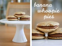 Une-deux senses: Banana Whoopie Pies with Nutella Cream Cheese Frosting
