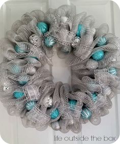 Beautiful, homemade deco mesh wreaths for a fraction of the price! You can easily design your own deco mesh wreath for any occasion! Teal Christmas, Christmas Mesh Wreaths, Winter Wreaths, Spring Wreaths, Summer Wreath, Prim Christmas, Wreath Crafts, Diy Wreath, Christmas Crafts