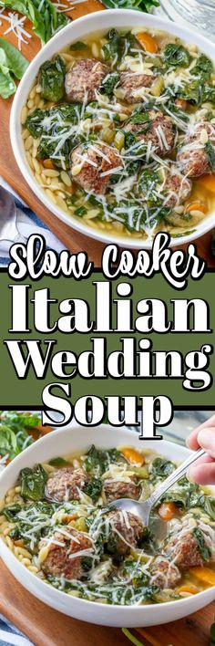 This hearty, healthy Slow Cooker Italian Wedding Soup will quickly become a favorite in your house as it has ours. Filled with chicken broth, carrots, onions, celery, spinach, and tiny meatballs it is a soup to ponder and enjoy! Italian Crockpot Recipes, Easy Soup Recipes, Casserole Recipes, Slow Cooker Recipes, Healthy Slow Cooker, Best Slow Cooker, Wedding Soup, Italian Meats, Small Pasta