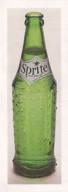 Sprite bottle 1960s. I used to select this from the soda machine in my grandparents' basement!! Still love the bottle design.