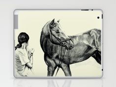 Synchronous Laptop & iPad Skin by Vargamari - $25.00 - Pencil drawing, from the Horse-series