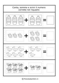 Addizione-Oggetti_3 Preschool Books, Preschool Classroom, Kindergarten Worksheets, Preschool Activities, Teacher Education, School Teacher, Addition Worksheets, Simple Math, Free Printable Worksheets