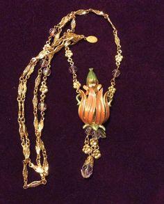 BNIB KIRKS FOLLY Gnome Inside Tulip Enamel Crystals Long Necklace Moves #KirksFolly