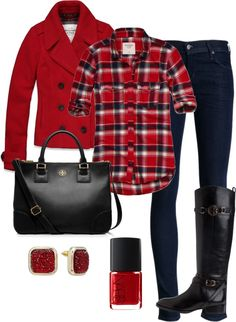 "love the riding boots and plaid shirt combo!  ""Winter"" by honeybee20 on Polyvore"