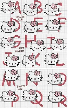 ♥Meus Gráficos De Ponto Cruz♥: Dezembro 2012 Alphabet letters with Hello Kitty, there are more kinds on the site