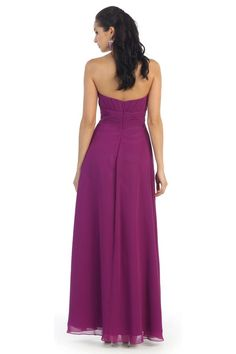 Long Chiffon Plus Size Bridesmaid Formal Evening Pleated Dress - The Dress Outlet - 11