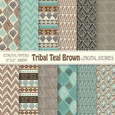 "Tribal Digital Paper: ""TRIBAL TEAL BROWN"" with tribal patterns, in brown, beige, teal, for scrapbooking, invites, cards - Buy 2 Get 1 Free"