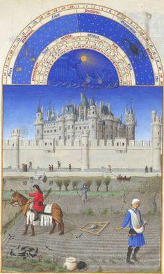 [베리공작의 기도서,10월] 랭브르 형제.  1416년, 22.5x13.6cm,콩데 비술관.  베리공작의 기도서 안에 그려진 10월을 의미하는 그림.