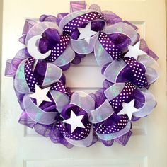 Relay for Life purple & white deco mesh with purple polka dot ribbon and wood stars & moon. Please check out my creations & 'Like' my FB page: Empire Wreath Co! (re-PINNERS, please keep this message with the photo! Thanks!)