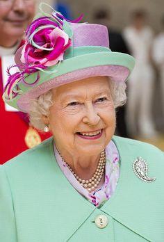 Queen Elizabeth, June 12, 2014 in Angela Kelly   Royal Hats
