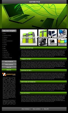 Template #1140 Tech, Computers, Green & Black