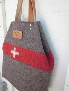 Personalized XL Carry All Tote. Handmade from ORIGINAL Swiss Army Wool blankets.