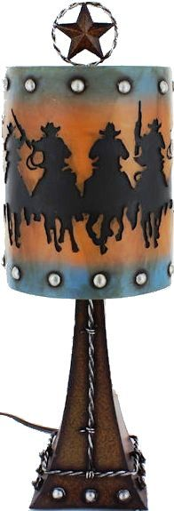Western Cowboys & Horses Table Lamp A great new western table lamp featuring a shade with cowboys on their horses and a star on top. Western Lamps, Rustic Western Decor, Rustic Furniture Stores, Western Furniture, Tex Mex, Rustic End Tables, Driftwood Lamp, Ranch Decor, Cowboy Horse