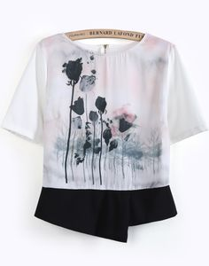 White Short Sleeve Ink Floral Blouse EUR€23.49