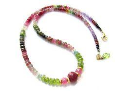 Gemstone Rainbow Necklace ~ Ruby, Pink Sapphire, Peridot, Tourmaline, Amethyst etc. ALL NATURAL gemstones
