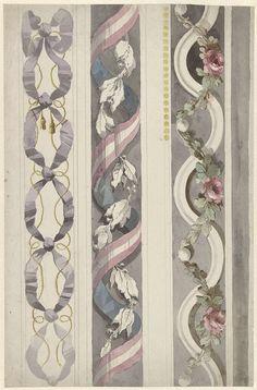 Drie ontwerpen voor randversieringen, Abraham Meertens, , 1767 - 1823