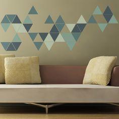 Geometric Triangles Wall Sticker, Mint Green | ACHICA