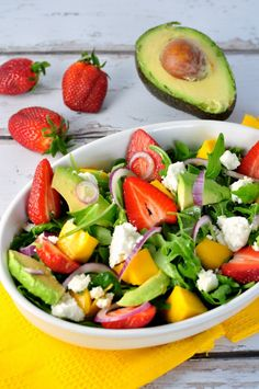 Strawberry-Mango Arugula Salad with Avocado and Goat Cheese from ...