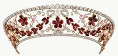 The Rosenborg Kokoshnik Tiara designed in the shape inspired by traditional Russian kokoshnik headdresses, features a swagged garland of garnets and garnet five-petal flowers, with further leaf ornaments in diamonds and a central bow, all studded with pearls and set in platinum and gold. The top row of diamonds detaches for use as a diamond rivère necklace. Made by Danish court jeweler in the 1930s for Count of Rosenborg (1893-1970), a grandson of King Christian IX of Denmark.