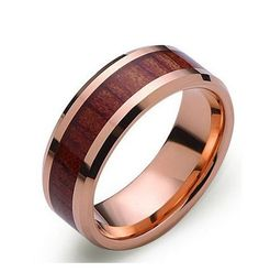 Men's unique wedding ring the Gold Rose. The high polished tungsten ring will forever keep it's shine. This bands has a subtle wood inlay wrapping the ring and protected with a durable clear epoxy. Th