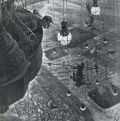 Illustration pour H. Wells When the Sleeper Wakes, The Graphic, 21 janvier 1899 Henri Lanos Diesel Punk, Dystopian Art, Steampunk, Conceptual Drawing, Invisible Cities, Black And White Drawing, Art Deco Design, Fantasy Art, Art Nouveau