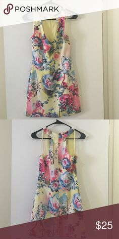 Ark & Co Floral Mini Dress This deep-V floral mini dress is perfect for a winery trip with the girls. It's polyester-spandex blend gives it just enough stretch without comprising its shape. Ark & Co Dresses Mini