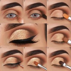 Though everyone knows how important the eye makeup is, it is not easy to make perfect eyes at first.Today WPS will offer several eye makeup tips. Makeup Eye Looks, Eye Makeup Steps, Simple Eye Makeup, Makeup For Brown Eyes, Smokey Eye Makeup, Eyeshadow Makeup, Gold Eyeshadow Looks, Perfect Makeup, Gorgeous Makeup
